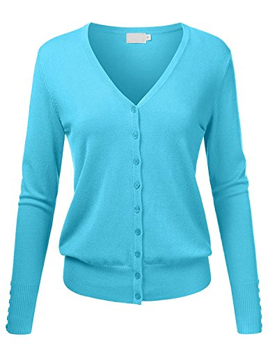 TheLovely Women V-Neck Button Down Long Sleeve Knit Cardigan Sweater (Aqua, Medium)
