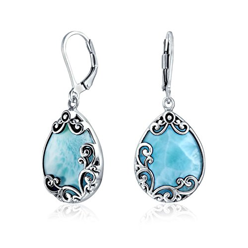 Bali Style Teardrop Scroll Filigree Scroll Light Blue Larimar Leverback Dangle Earrings For Women 925 Sterling Silver