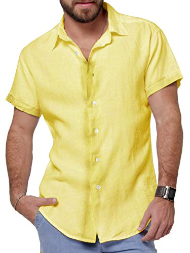 SySea Mens Casual V Neck Cotton Linen 3/4 Sleeve Hippie Shirts Banded Collar Henley Tops with Buttons (Large, 4 Yellow)