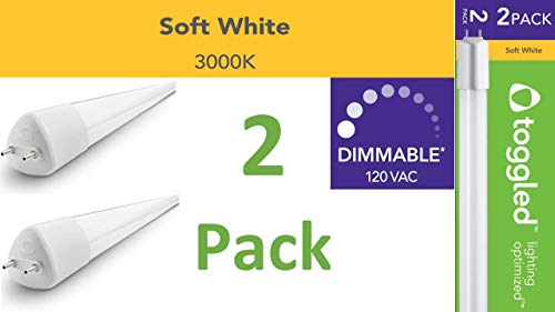 120 VAC toggled D-series T8 //T12 Dimmable LED Lamp 48in 16W 4ft 5000K 12pk