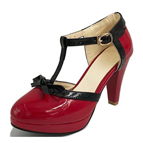 (DecoStain Women's Elegant Generous Fashion Stylish Daily T-Strap Bows Womens Platform High Heel Pumps Shoes)