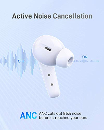 VANKYO N10 Hybrid Active Noise Cancelling Wireless Earbuds, Bluetooth Earbuds with 6 Mics, Environment Noise Cancelling Bluetooth Headphones, Wireless Charging & USB-C, Premium Deep Bass 35H Playtime