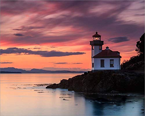 Orange Sunset at Lime Kiln Lighthouse by Shawn/Corinne Severn Laminated Art Print, 15 x 12 inches