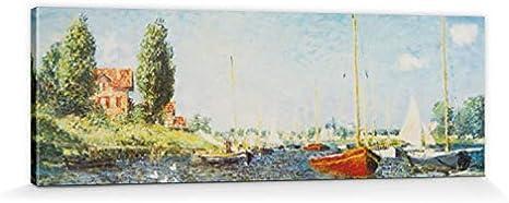 1art1 Claude Monet - Barcos Rojos En Argenteuil, 1875 Cuadro, Lienzo Montado sobre Bastidor (150 x 50cm)
