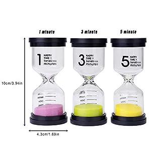 Reloj de Arena 3 Colores Temporizador de Arena 1/3/5 Mins para Niños Juegos de Cocina de Aula de Oficina de Decoración 3 Piezas 7