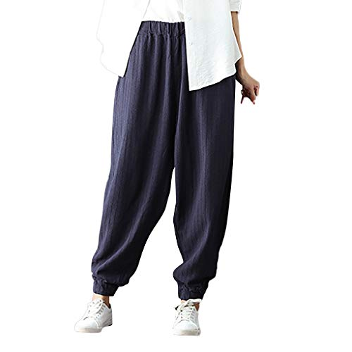 ANJUNIE Women Winter Warm Cotton Linen Radish Pants with Pockets Harem Pants Elastic Loose Trousers(1-Navy,L)