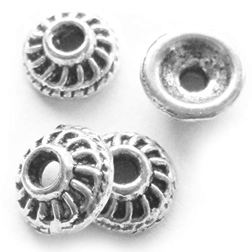 Flower Bail Pull Ends - Heather's cf 100 Pieces Silver Tone Smooth Beads Caps Findings (Fit 6-8mm Round Beads) Jewelry Making