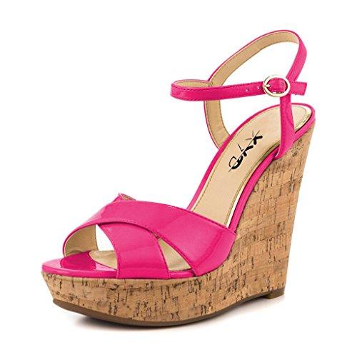 XYD Comfort Platform Cork Wedges Slingback Shoes Peep Toe Sandals Ankle Strap High Heels for Women Size 8 ()