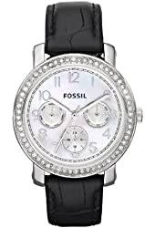 Fossil Imogene Leather Watch - Black with Stones