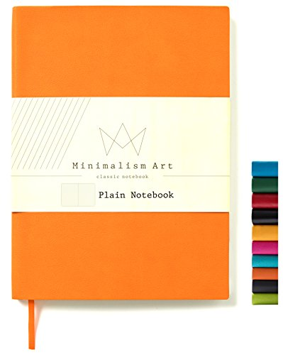 Minimalism Art, Soft Cover Notebook Journal, A5 Size 5.8 X 8.3 inches, Plain/Blank Page, 176 Pages, Fine PU Leather, Premium Thick Paper-100gsm, Ribbon Bookmark, Designed in San Francisco (Orange) ()