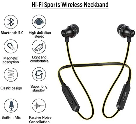 pTron Tangent Lite Bluetooth 5.0 Wireless Headphones with Hi-Fi Stereo Sound, 6Hrs Playtime, Lightweight Ergonomic Neckband, Sweat-Resistant Magnetic Earbuds, Voice Assistant & Mic - (Black & Yellow)