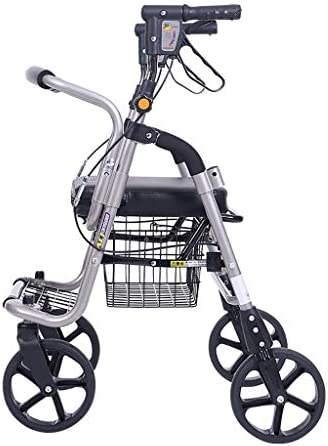 折りたたみビーチワゴン 収穫台車・キャリー 老人折りたたみトロリーカート、 食料品ショッピングカート 4輪 ポータブルは座ることができます ウォーカー 休憩席 軽量車椅子の移動、 積載量:100kg