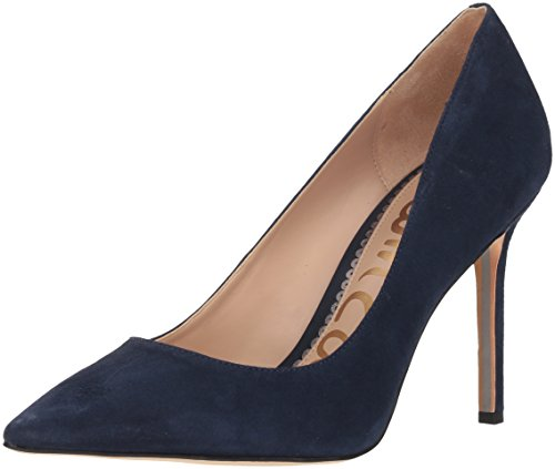 Leather Navy Heels High (Sam Edelman Women's Hazel Pump, Baltic Navy Suede, 6.5 M US)