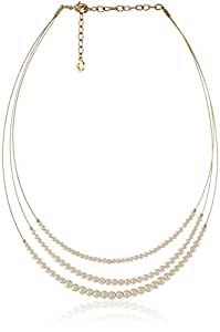 Anne Klein Gold Tone and Pearl Wire Coil Necklace, 18""