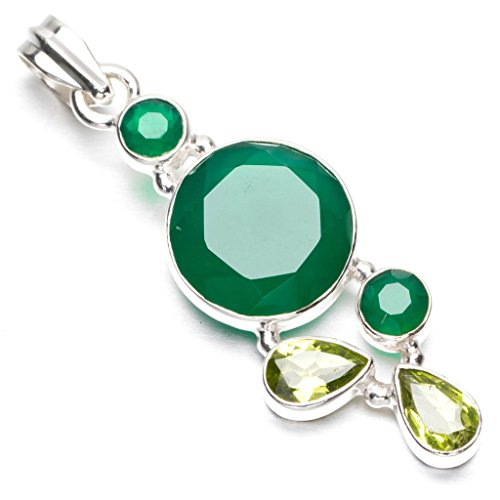 StarGems(tm) Natural Chrysoprase and Peridot Punk Style 925 Sterling Silver Pendant 2