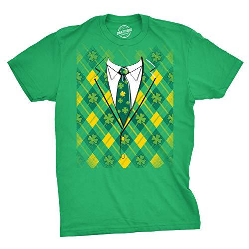 Plaid Green Tuxedo T Shirt Funny Irish Shamrock Tee (Green) - M - Irish Tuxedo T-shirt