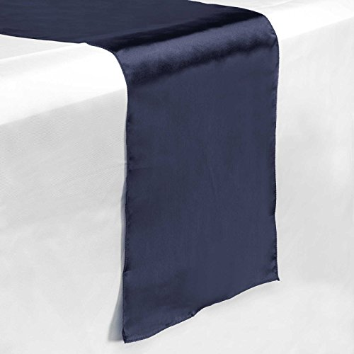 Lanns Linens - 5 Satin 12 x 108 Dining Room Table Runners for Wedding, Reception or Party - Navy Blue