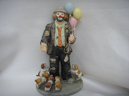 """Flambro Clown Collection Porcelain Vintage Figurine 5"""" Collectible ; Emmett Kelly Jr. My Favorite Things"""