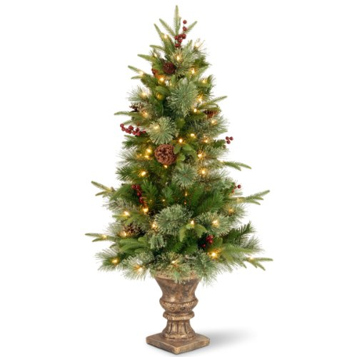 National Tree 4 Foot Feel Real Colonial Entrance Tree with Berries, Cones and 100 Clear Lights in Decorative Urn (PECO4-306-40) Pre Lit Cone