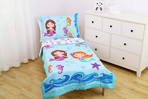 Everyday Kids 4 Piece Toddler Bedding Set -Undersea Mermaids Adventure- Includes Comforter, Flat Sheet, Fitted Sheet and Reversible Pillowcase
