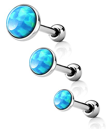 Forbidden Body Jewelry 3-Pack: 16g Surgical Steel Synthetic Light Blue Opal Cartilage Studs, 3mm/4mm/5mm Opalite