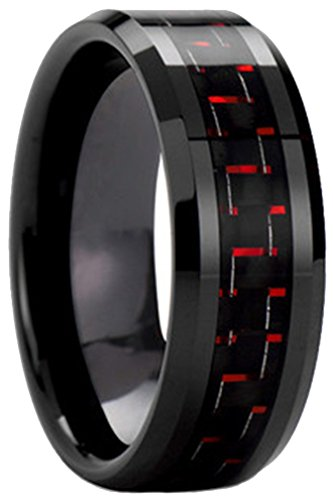 AZYOUNG Black Tungsten Carbide Black Red Carbon Fiber Inlaid Wedding Band Ring - 8MM(7.5) ()
