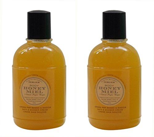Perlier Honey Miel Bath and Shower Cream with Honey – 16.9 Fluid Ounces 500mL Bottles Pack of 2 Italian Import