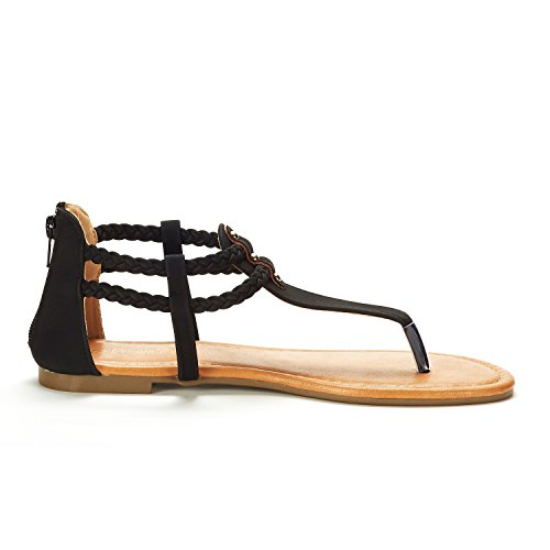 DREAM PAIRS Women's Maxi_02 Black Fashion Gladiator Design Ankle Strap Flat Sandals Size 10 M US by DREAM PAIRS (Image #1)