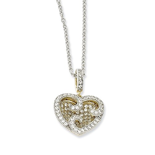 Jewelry Necklaces Necklace with Pendants Sterling Silver and Vermeil CZ Brilliant Embers Heart Necklace ()