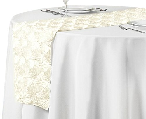 Ivory 14RNR-060402 LinenTablecloth Rosette Satin Table Runner 14 by 108-Inch