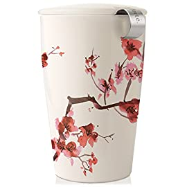 Tea Forte KATI Single Cup Loose Tea Brewing System, Ceramic Cup with Tea Infuser and Lid, Cherry Blossoms - New Infuser Design 54 THE SIMPLE WAY to brew loose leaf tea by the cup DOUBLE-WALLED DESIGN keeps tea hot and the tumbler cozy to hold MAKES A GENEROUS 12 ounce cup of your favorite tea