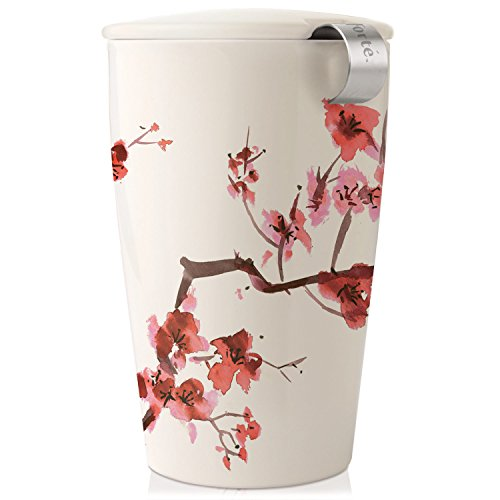 Tea Forté KATI Cup Ceramic Tea Brewing Cup with Infuser Basket and Lid for Steeping, Loose Leaf Tea Maker, Cherry Blossoms