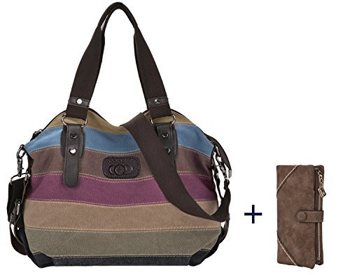 whobabe lona Multi-color Shopper Tote bolsa de hombro de la mujer bolso de mano