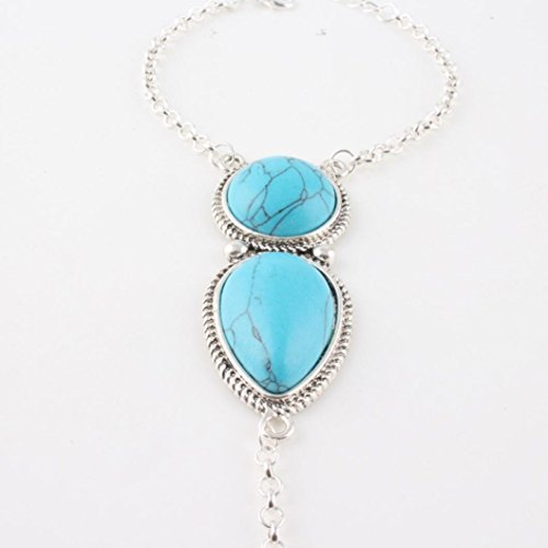 Clearance,AIMTOPPY Jewelry Bohemian Beach Vintage Turquoise Finger Link Bracelet (Silver, free)
