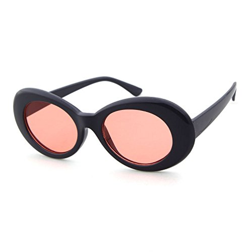 Clout Goggles Oval Sunglasses Mod Style Retro Thick Frame Kurt Cobain Inspired Sunglasses With Round Lens Vintage (Black/Pink, - Free Clout Goggles