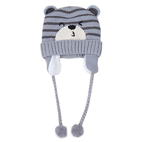 Gloous Baby Boys Girls Beanie Pocket Cotton Hat Children Print Knitting Hats (A)