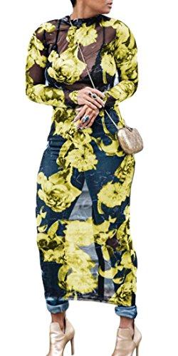 Domple Manches Longues Imprimé Floral Sexy Femmes See-through Robe Longue Partie En Maille Jaune