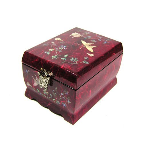 Wooden Musical Jewelry Ring Boxes Butterfly Mother of Pearl Necklace Hooks Inlaid Trinket Boxes Makeup Mirror Lid 2 Darwers Gift Chest for Women (Red)