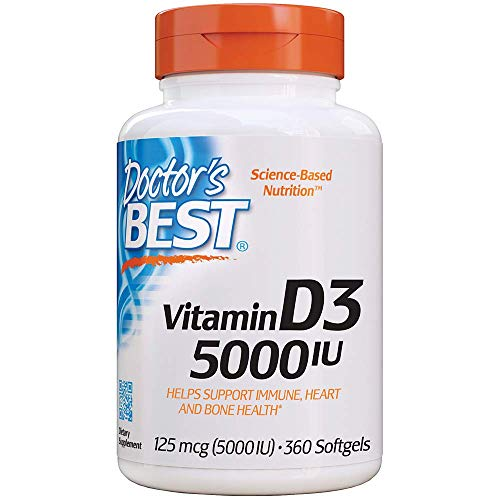 Doctor's Best Vitamin D3 5,000 IU for Healthy Bones, Teeth, Heart and Immune Support, Non-GMO, Gluten-Free, Soy Free, 360 Softgel (Best Rated Vitamin D Supplement)
