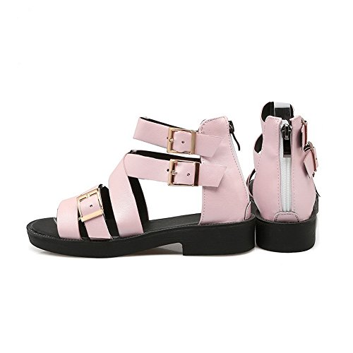Womens Pink Wrap Toe Buckle Urethane Ankle Round AdeeSu Sandals ZwnA81dqZx