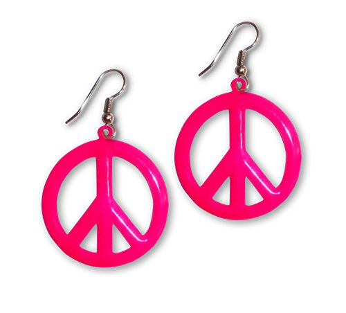 Pewter Peace Sign - Large Neon Hot Pink Hippie Peace Sign Dangle Earrings