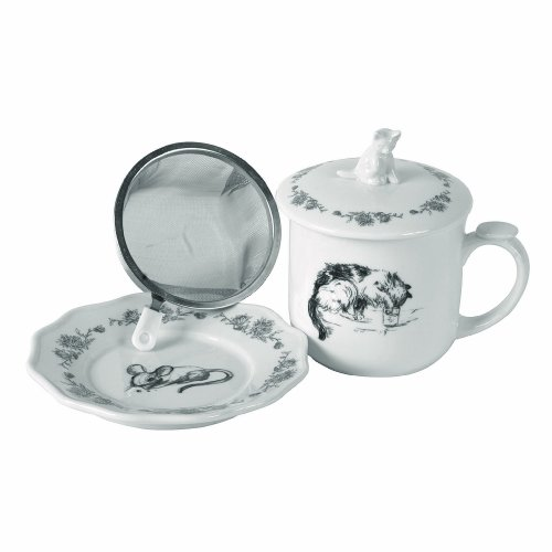 Creative Co-Op 4 Piece Cat & Mouse Stoneware Mug with Lid, Saucer & ()