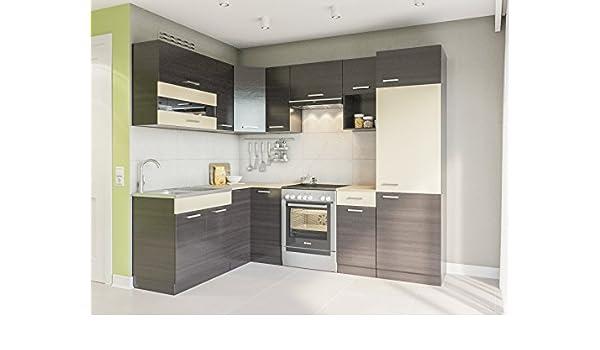 Eldorado de ángulo de Muebles Cocina Alina 250 x 170 + wengué L Forma de Cocina línea Esquina Cocina Block: Amazon.es: Juguetes y juegos
