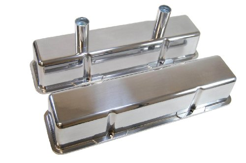 Racer Performance 1958-86 Chevy Small Block 283-305-327-350-400 Tall Polished Aluminum Circle Track Racing Valve Covers - Smooth
