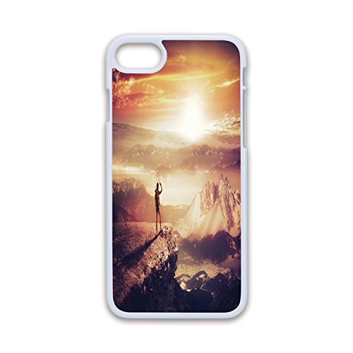 Phone Case Compatible with iPhone7 iPhone8 White Soft Edges 2D Print,Adventure,Traveler Woman with Backpack on Mountain Surveying Sunset Adventure Photo Print,Multicolor,Hard Plastic Phone Case ()