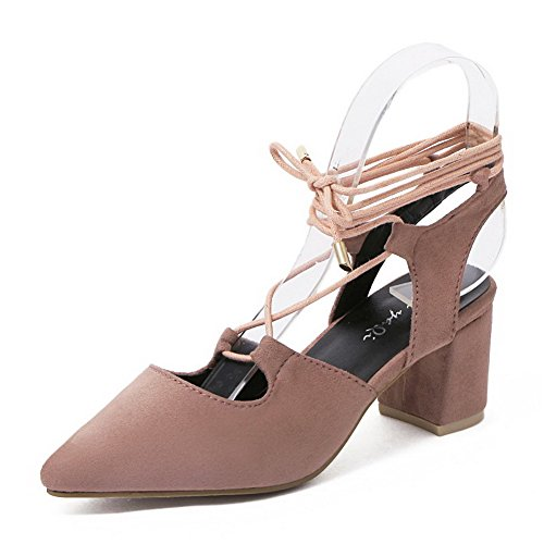 Kitten Closed up Sandals Frosted Solid Heels Pink Pointed Toe Lace AgooLar Women's g6S17q