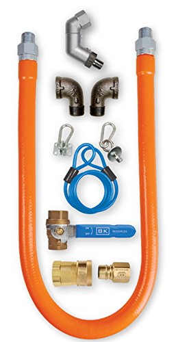 BK Resources Swivel Pro Gas Hose Connection Kit with Accessories, 1/2 Inch Diameter, 48 Inch Long Hose