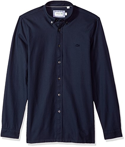 Lacoste Men's Long Sleeve Smart-Leisure Pique Collar Slim Woven Shirt, Ch7641, Navy Blue, 40