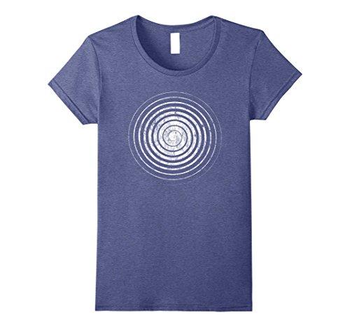 Hypnotic Swirl - Womens Hypnosis T Shirt - Hypnotic Swirl Distressed Print Tee Medium Heather Blue