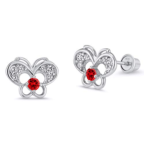 925 Sterling Silver Rhodium Plated Red Butterfly Cubic Zirconia Screwback Baby Girls ()